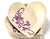 second sale ceramic heart dish ring bowl Valentine's Day off white and purple handmade stoneware pottery