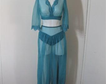 Harem Pajama Set Jenelle of California Lingerie 60's Vintage Sheer Nylon Chiffon, Turquoise Bolero Wrap Top & Balloon Leg Ankle Pants, Small