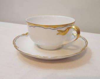 ON SALE, Antique Tea Cup, Vintage Tea Cup, Haviland Teacup, Limoges Teacup, White Tea cup, French Teacup, Haviland Tea cup, Gold Tea Cup