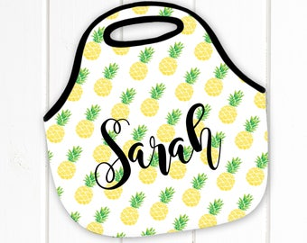 Personalized Lunch Tote, Pineapple, Neoprene Lunch Tote, Lunch Bag, Lunch Box - Monogram Lunch Tote-Lunch Bag, Monogrammed lunch tote