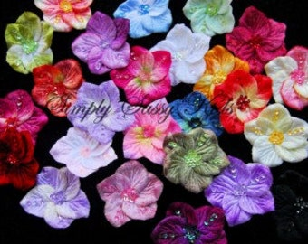2.5 inch Velvet Sequin Flowers Appliques  x 12