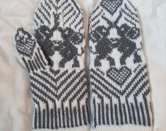 Dancing Elephants Hand-Knitted Mittens