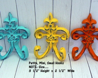"Fleur de lis Cast Iron Turquoise Yellow Orange 3 1/2"" Mini Petite FDL Summer Set 3 Small Hooks French Shabby Tropical Chic Nursery Bathroom"
