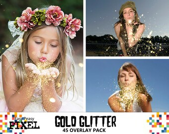GOLD GLITTER OVERLAYS, Blowing Glitter Overlays, Glitter Overlay, Christmas, Photo Overlays, Wedding Overlays, Conffeti Overlays