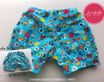 Baby Girls Blue Flowers and Birds Print Bubble Shorts 18-24 Months