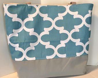 LARGE Tote Bag . Fynn in Regatta Blue and Gray . Teacher tote . Large beach bag . Quatrefoil . great bridesmaid gifts MONOGRAMMING Available