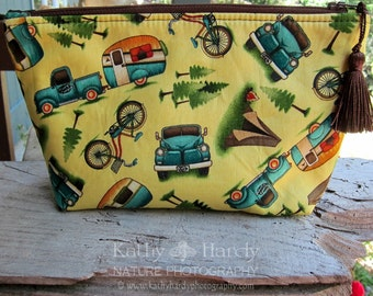 HaPPy Camper | Makeup Bag | Lined Zipper Bag | Camping Theme Fabric | Camper | Camping Bag | Small Gift Under 20 | Camera Accessory Bag