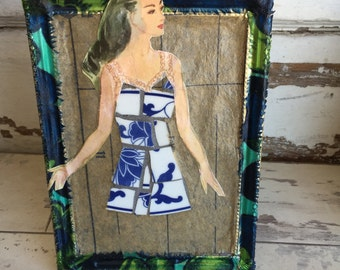 Collage Assemblage Dress - Broken China Mosaic Blue and White Floral Mixed Media Art - Picture