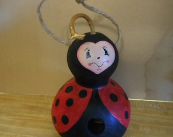 Hand Painted Gourd Bird House  Lady Bug