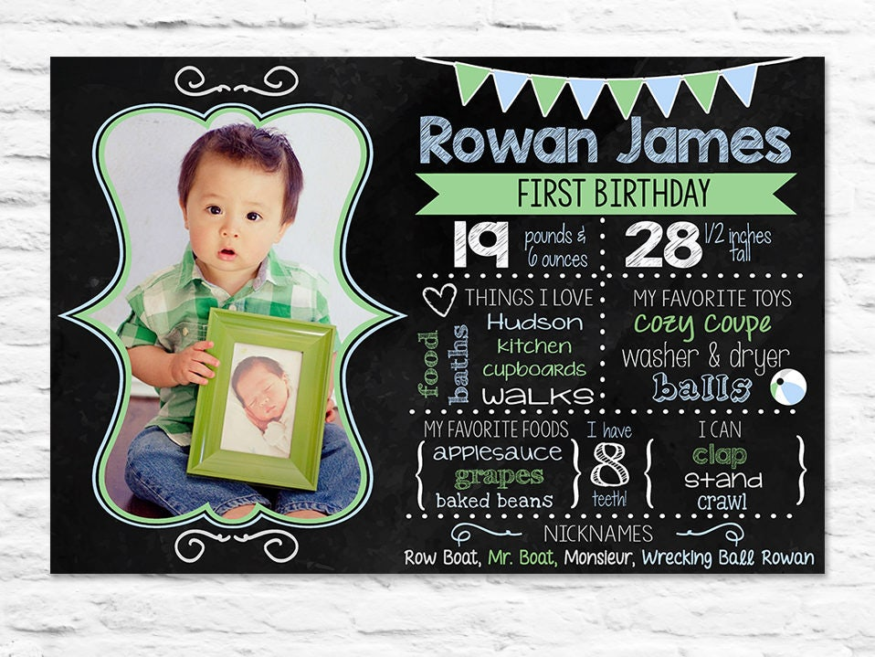 First birthday chalkboard sign with photo for boy or girl