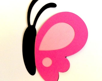 12 Pink Butterfly die cuts - side view - 3 inches tall
