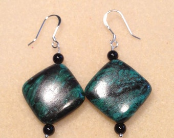 "Green and Black Jasper Earrings with Black Onyx Gemstones on Sterling Silver Earwires 2"" Long 1""  Wide Previously 25 Dollars ON SALE"
