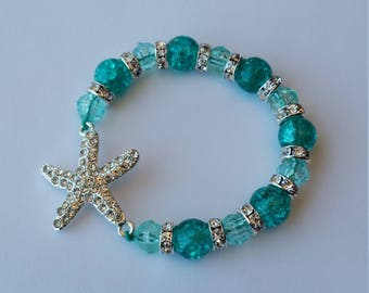 Green Hair Bracelet with lg crystal starfish