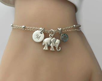 Elephant Bracelet in Sterling Silver - Adjustable Personalised Elephant Bracelet, Birthday gift, Lucky bracelet, Elephant jewelry