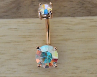 Aurora Borealis Round Shape Double Prong Set Gem Rose Gold Plated Belly Button Ring Navel Body Piercing Jewelry