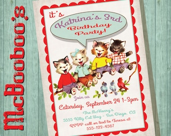 VIntage Retro Kitty Cat Birthday Party Invitation with a row of cute kittens and birds on old faux linen paper