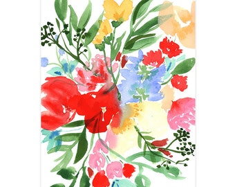 Wild Bouquet Watercolor Fine Art Print