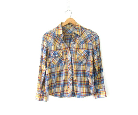 Vintage Small Fit Western Shirt Yellow & Blue Southwestern Plaid Shirt Urban Rockabilly Top Pearl Snap Button Up Top Unisex Size 38 Small