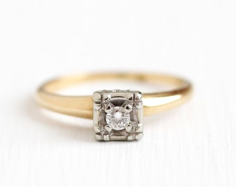 Sale - Vintage Engagement Ring - 14k Yellow White Gold 1/10 Carat Diamond Solitaire - Size 5.25 Mid Century 1940s Fine Flower Bridal Jewelry