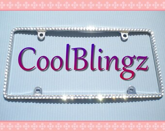 Thin Bling CRYSTAL Diamond Rhinestone License Plate Frame