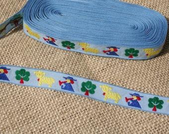 Vintage Jacquard Ribbon Childrens Trim Blue Yellow LIttle Boy Blue Horn Sheep