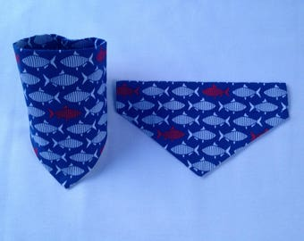 Dog Bandanna, Navy Fish design