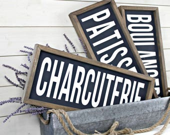 French Country Farmhouse Framed Wall Decor - Boulangerie Charcuterie Patisserie
