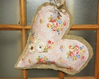 Pink Floral Burlap Door Hanger