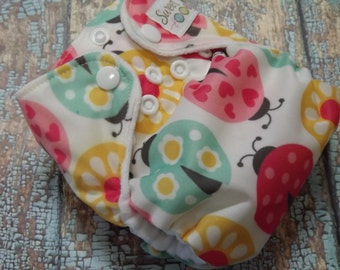 Newborn AI2 Cloth Diaper Organic Cotton Ladybugs Made to Order All in Two PUL