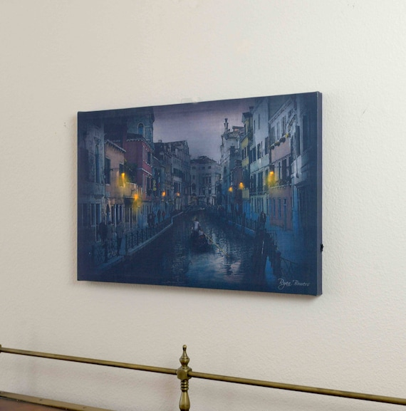 Lighted Canvas Painting featuring Streets of Venice. Lighted by nicely embedded LED lights. Looks really beautiful.