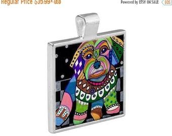 Cavachon Dog Folk Art Jewelry - Pendant Metal  Gift Art Heather Galler Gift - Dog Lovers Pet Art Vegan Gifts