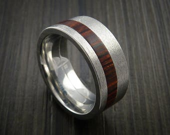 Cobalt chrome and cocobolo hardwood wood ring