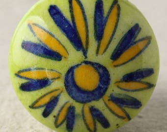 Yellow and Blue flower with Green Ceramic Cabinet knob