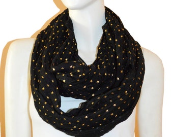 Black Light Weight All Season Star Gliding Crinkle Infinity Scarf  Loop Cowl