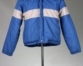 ON SALE Vintage 80s Le Tigre Blue/Gray Puffy Ski Coat S