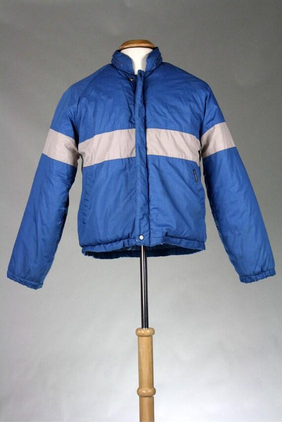ON SALE Vintage 80s Orange Chevron EMO Puffy Ski Coat S zZiI5