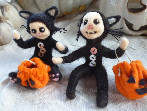 Kitty Cat  Child Trick or Treater Needle Felted Figure