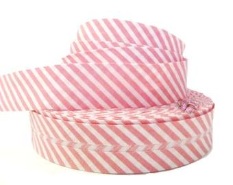 1 M Ruban bias striped dark pink and white 20mm folded.
