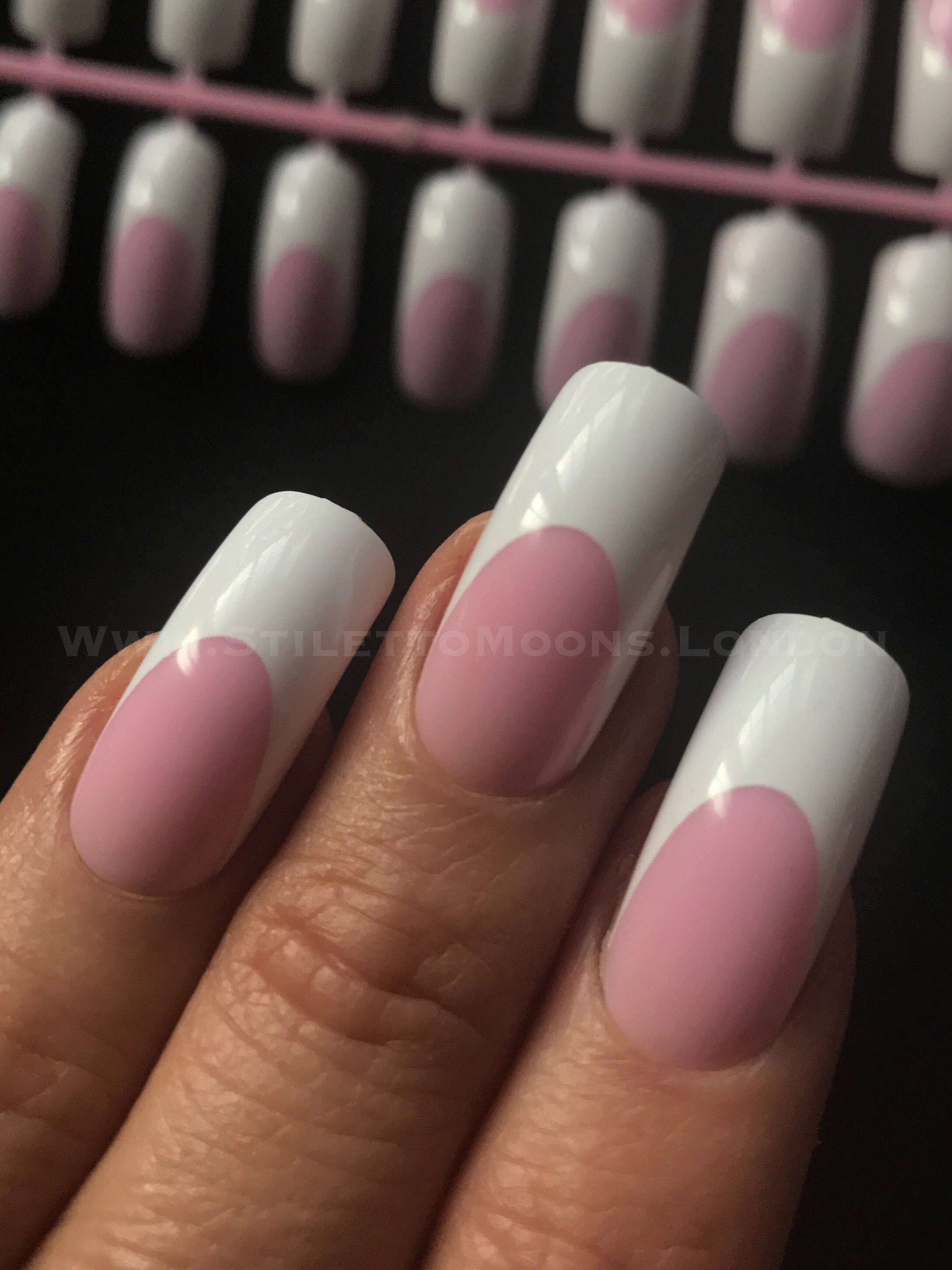 Shiny pink French Manicure long curve false nails 24 pieces