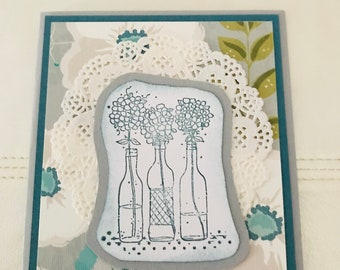 Flowers & doilies teal and gray for any occasion