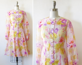 vintage 60s pink + yellow floral dress, 1960s babydoll dress, 70s boho hippie flower print mod dress, small medium s/m