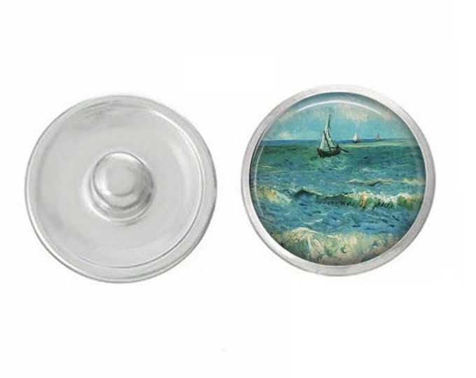 Van Gogh Sailboat Snap - Pair with our Base Pieces - Compatiable with GingerSnaps and Magnolia and Vine Pieces - HandPressed Snaps