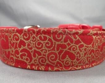 Valentine Dog Collar Gold Foil Hearts on Red Valentine's Dog Collar