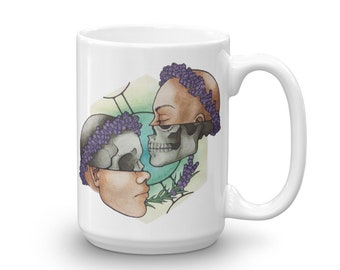 "15 oz ""Gemini"" Zodiac Ceramic Mug, Ink Illustration Watercolor Painting, Tattoo-Style Astrology Star Sign Coffee or Tea Mug"