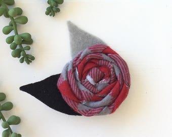 Plaid flower clip- christmas hair clip- holiday hair accessory - hair clip
