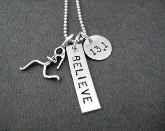 RUNNING Girl BELIEVE in your DISTANCE Sterling Silver Necklace - 16, 18 or 20 inch Sterling Silver Ball Chain - 5k, 10k, 13.1, 26.2, Run, Xc