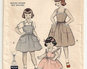 "A Fitted Bodice, Full Skirt, Large Pocket Dress/Sundress/Jumper and Brimmed Sun Cap Sewing Pattern: Girls Size 6 Breast 24"" • Butterick 6386"