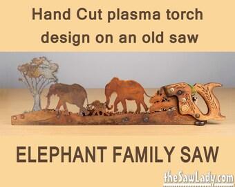 Metal Art Elephant design - Hand cut (plasma torch) hand saw Wall Decor   Garden Art   Recycled Art   Repurposed  - Made to Order