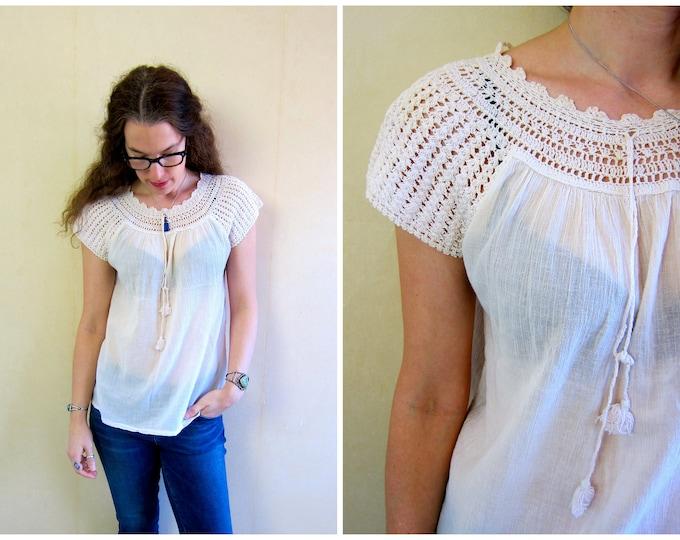 Bohemian Cotton Gauze Shirt Vintage 70s Sheer White Top Crochet Neckline MN Boho Hippie Gypsy Tee Vintage India Blouse Womens XS Small
