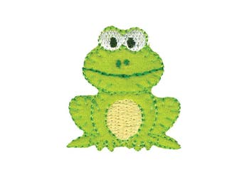 Green Frog Iron On Applique, Frog Iron on Patch, Frog Applique, Baby Applique, Kids Patch, Embroidered Patch